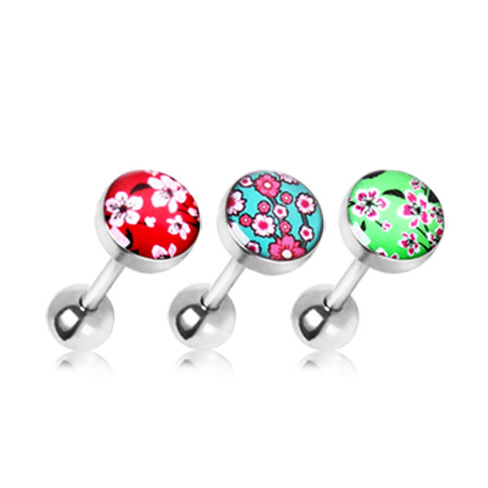 316L Surgical Steel Cherry Blossom Flat Barbell