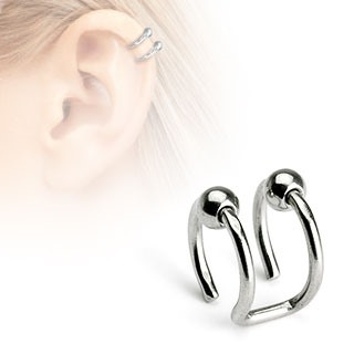 316L Surgical Steel Fake Cartilage 'Clip-On' Double Closure Ring w/ Beads
