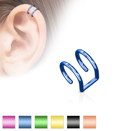 316L Surgical Steel Fake Cartilage 'Clip-On' Double Closure Ring