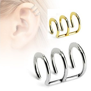 316L Surgical Steel Fake Cartilage 'Clip-On' Triple Closure Ring