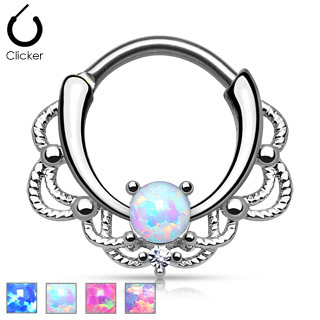 316L Surgical Steel Silver Lace Opal Septum Clicker