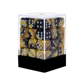 36 Black & Gold Gemini six sided dice with White Numbers Games and Hobbies NZ