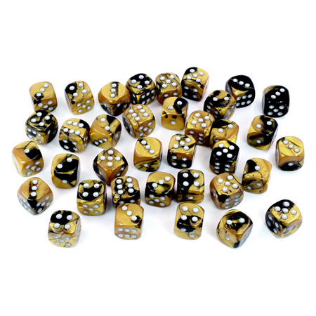 36 Black & Gold with Silver Gemini 12mm Six Sided Dice