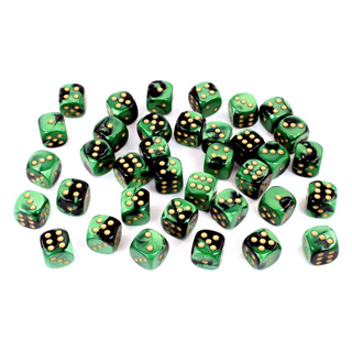 36 Black & Green Gemini Six Sided Dice with Gold Numbers (12mm)