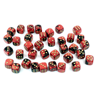 36 Black & Red with Gold Gemini 12mm Six Sided Dice