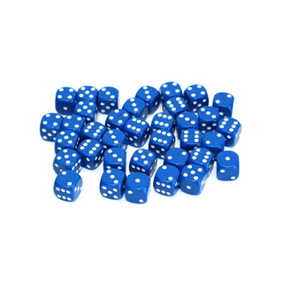 36 Blue and White Six Sided Dice (12mm)