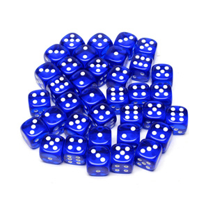 36 Blue and White Translucent six sided dice Games and Hobbies NZ New Zealand