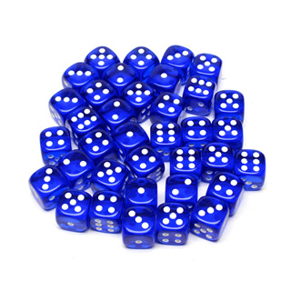 36 Translucent Blue and White Six Sided Dice (12mm)