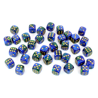 36 Blue & Green with Gold Gemini 12mm Six Sided Dice