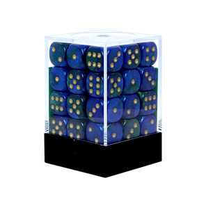 36 Blue & Green Gemini six sided dice with Gold Numbers Games and Hobbies NZ