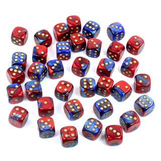 36 Blue & Red Gemini Six Sided Dice with White Numbers (12mm)