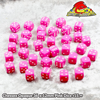 36 Chessex Pink and White six sided dice Games and Hobbies NZ New Zealand