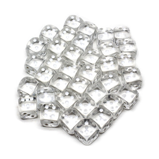 36 Translucent Clear and White Six Sided Dice (12mm)