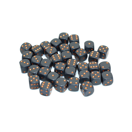 36 Dark Grey and Copper Six Sided Dice (12mm)