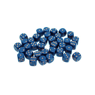 36 Dusty Blue and Gold Six Sided Dice (12mm)