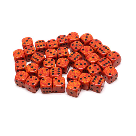 36 'Fire' Speckled Six Sided Dice (12mm)