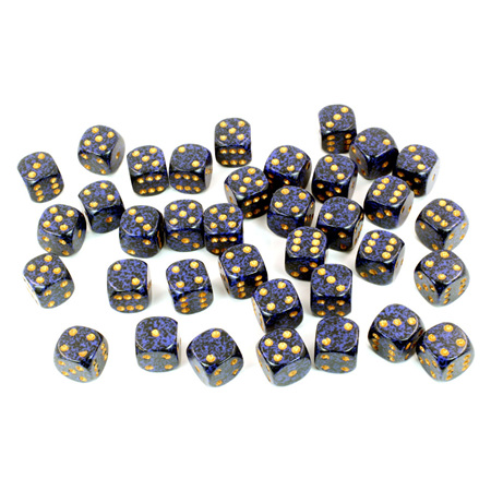 36 'Golden Cobalt' Speckled Six Sided Dice (12mm)