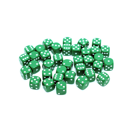 36 Green and White Six Sided Dice (12mm)