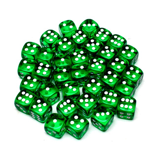36 Translucent Green and White Six Sided Dice (12mm)