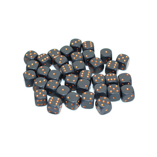 36 Grey and Copper Six Sided Dice (12mm)