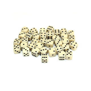 36 Ivory and Black Six Sided Dice (12mm)