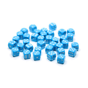 36 Light Blue with White six sided dice Games and Hobbies NZ New Zealand