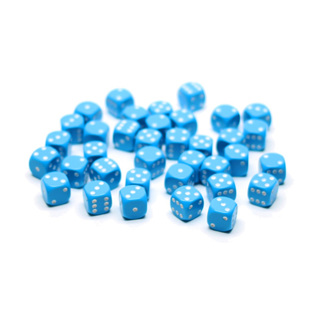 36 Light Blue and White Six Sided Dice (12mm)