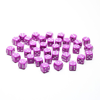 36 Light Purple and White Six Sided Dice (12mm)