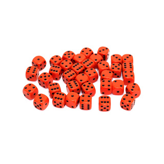 36 Orange and Black Six Sided Dice (12mm)