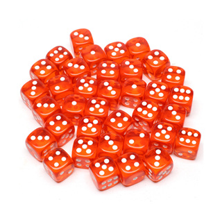 36 Translucent Orange and White Six Sided Dice (12mm)