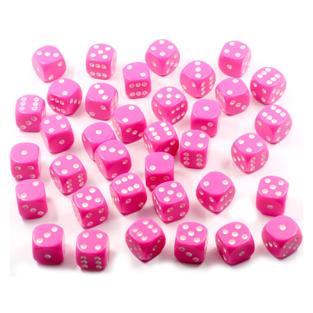 36 Pink and White Six Sided Dice (12mm)