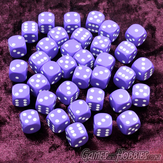 36 Purple and White opaque six sided dice Games and Hobbies NZ New Zealand