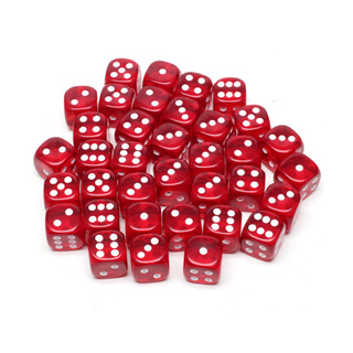 36 Translucent Red and White Six Sided Dice (12mm)