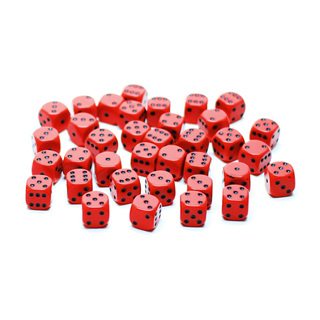 36 Red and Black Six Sided Dice (12mm)