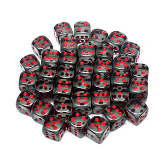36 Translucent Smoke and Red Six Sided Dice (12mm)