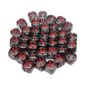 36 Smoke and Red Translucent six sided dice Games and Hobbies NZ New Zealand