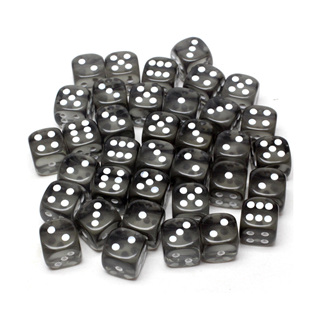 36 Translucent Smoke and White Six Sided Dice (12mm)