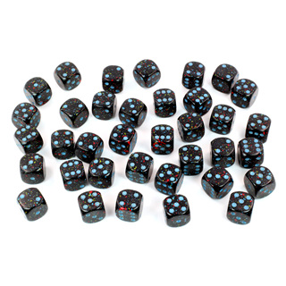 36 'Blue Stars' Speckled Six Sided Dice (12mm)