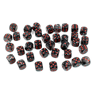 36 'Space' Speckled Six Sided Dice (12mm)
