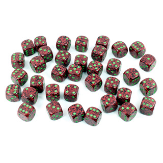 36 'Strawberry' Speckled Six Sided Dice (12mm)