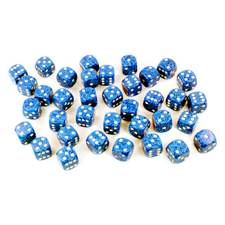 36 'Water' Speckled Six Sided Dice (12mm)