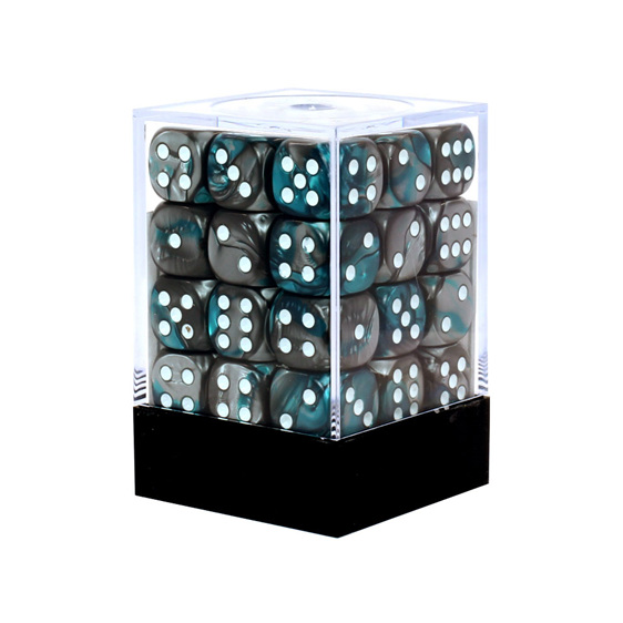 36 Steel & Teal Gemini six sided dice with White Numbers Games and Hobbies NZ
