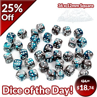 36 Steel & Teal with White Gemini 12mm Six Sided Dice