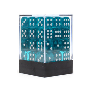 36 Teal and White Translucent six sided dice Games and Hobbies NZ New Zealand
