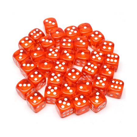 36 Translucent Orange and White Six Sided Dice (12mm)