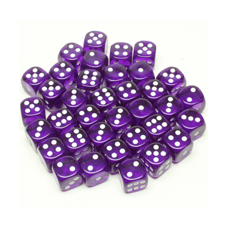 36 Translucent Purple and White Six Sided Dice (12mm)
