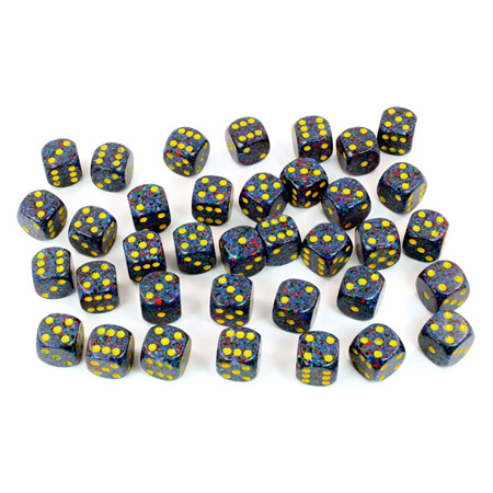 36 'Twilight' Speckled Six Sided Dice (12mm)