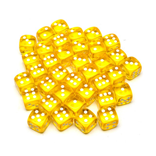 36 Translucent Yellow and White Six Sided Dice (12mm)