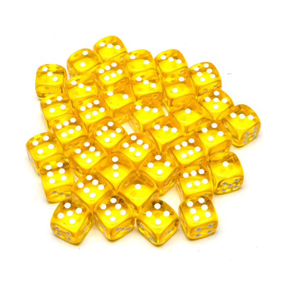 36 Yellow and White Translucent six sided dice Games and Hobbies NZ New Zealand