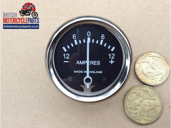 36403 Ammeter - Black Face 12-0-12  - British motorcycle Parts - Auckland NZ